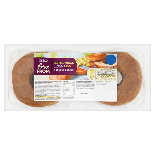 Tesco 4 Free From Seeded Bagels 240G