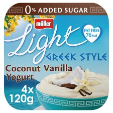 Muller Light Greek Coconut And Vanilla Yogurt 4X120g