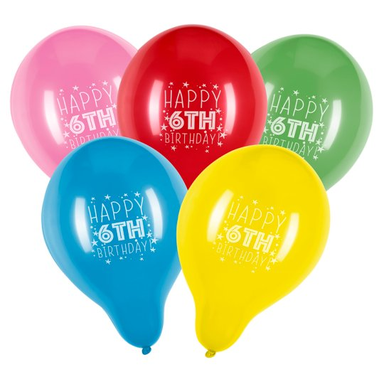 Tesco Party Balloons Age 6 10 Pack