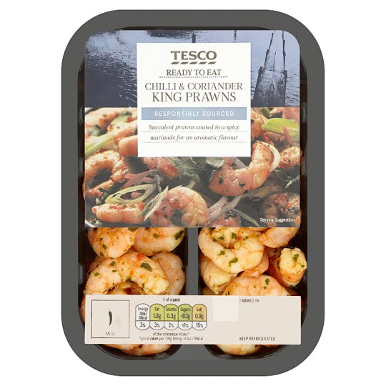 Tesco Marinated King Prawns In Chilli And Coriander 150G