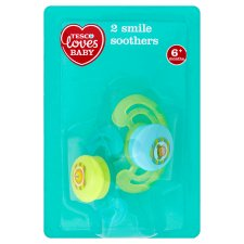 Tesco Loves Baby Smile Soothers 6+ Mths X2