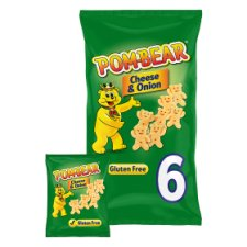 Pom Bear Cheese And Onion Potato Snacks 6 X 15G