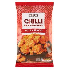 Tesco Chilli Rice Crackers Snacks 125 G