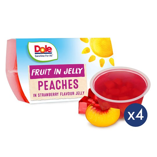 Dole Peaches In Strawberry Jelly 4X123g