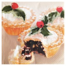Tesco Christmas Mince Pies Photograpic Napkin 33Cm 20 Pack