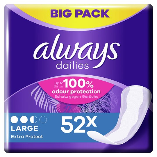 image 1 of Always Dailies Extra Protect Large Panty Liners 52 Pack