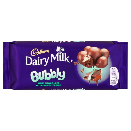 Cadbury Dairy Milk Bubbly Mint Chocolate Bar 100G