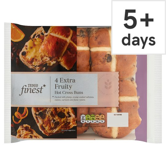 Tesco Finest White Hot Cross Buns 4 Pack