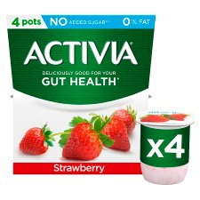 Activia Fat Free Strawberry Yogurt 4 X 120G