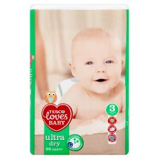 Tesco Loves Baby Ultra Dry Size 3 Economy Pack 56