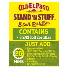 image 2 of Old El Paso Stand 'N' Stuff Soft Flour Tortillas 8Pk 193G