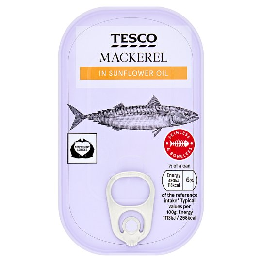 Tesco Skinless Boneless Scottish Mackerel Sunflower Oil 125G