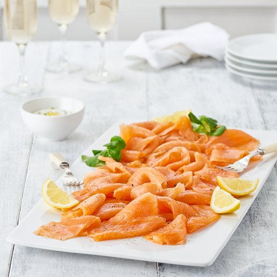 image 1 of Tesco Easy Entertaining Finest Sliced Hickory Smoked Salmon Serves 10