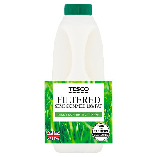Tesco Pure British Semi Skimmed Milk 1L