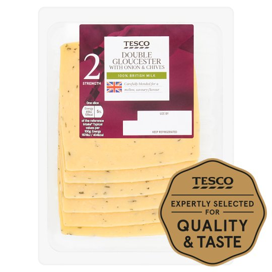 T Double Gloucester Chive And Onion Cheese Slices 150G