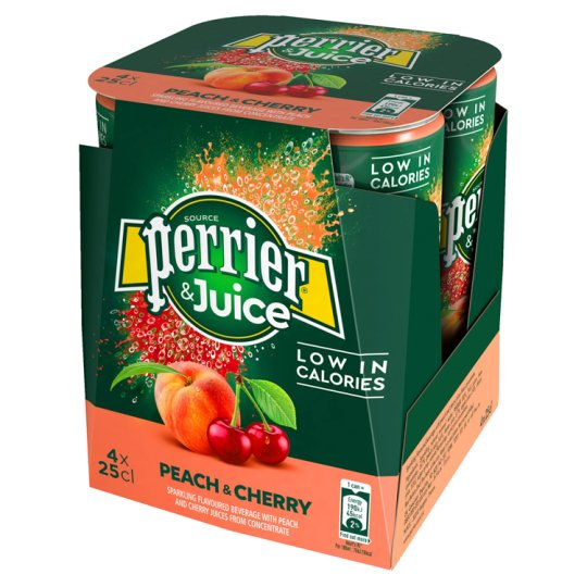 Perrier And Juice Peach And Cherry 4 Pack 250Ml