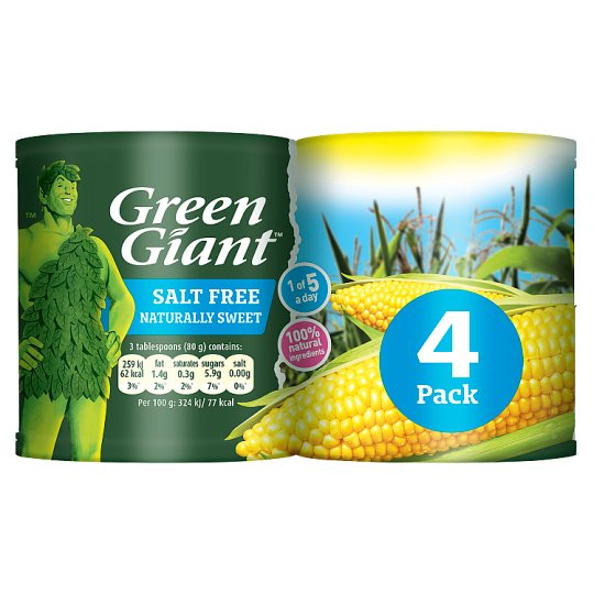 Green Giant Salt Free Sweetcorn 4X198g