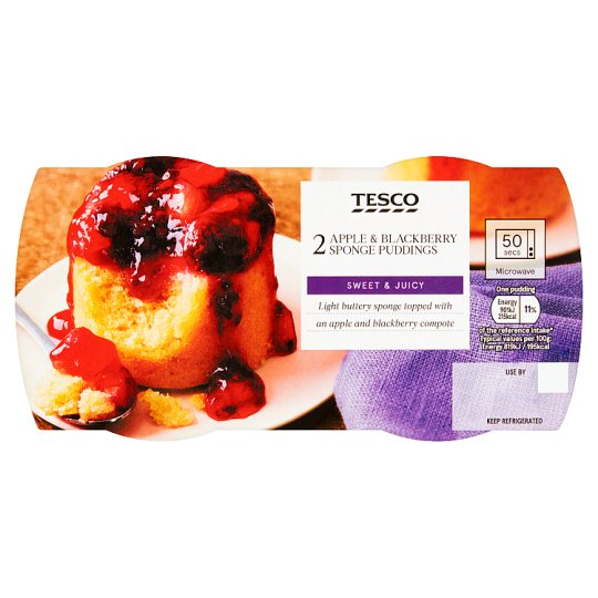 Tesco 2 Apple And Blackberry Puddings 220G