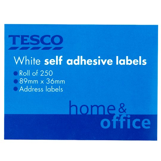 Tesco Self- Adhesive White Labels 250 Roll