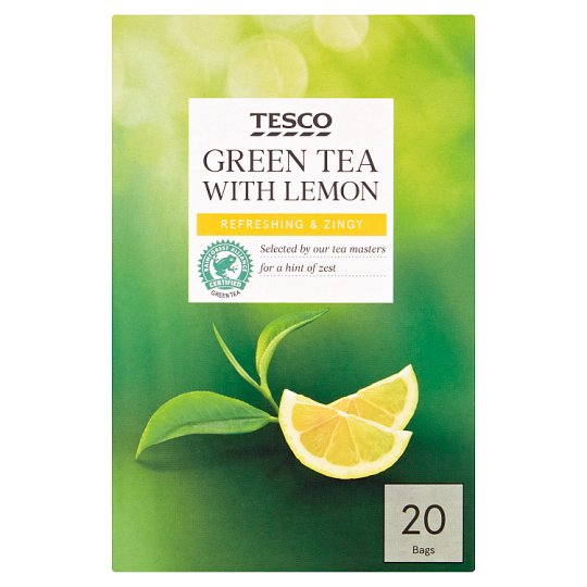 Tesco Green Tea With Lemon 20 Tea Bags 50G