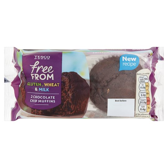 Tesco Free From Chocolate Muffins 2 Pack 140G