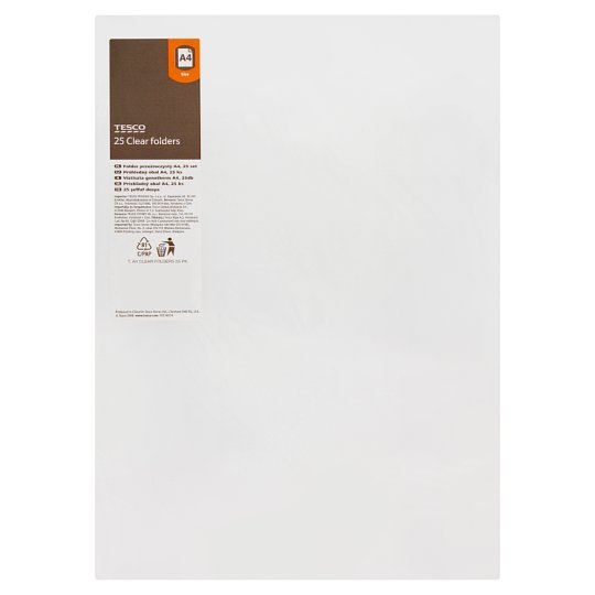 Tesco A4 Clear Folders 25Pk