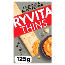 Ryvita Cheddar & Crack Black Pepper Thins 125G
