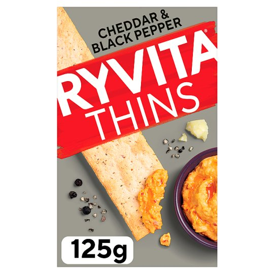 image 1 of Ryvita Cheddar And Crack Black Pepper Thins 125G