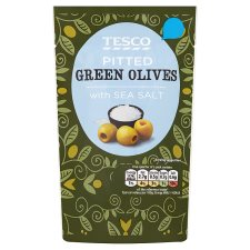 Tesco Pitted Green Olives And Sea Salt 70G