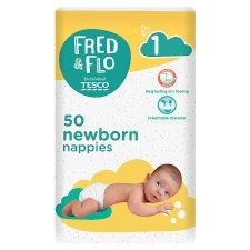 Fred & Flo Newborn Nappy Size 1 50 Pack
