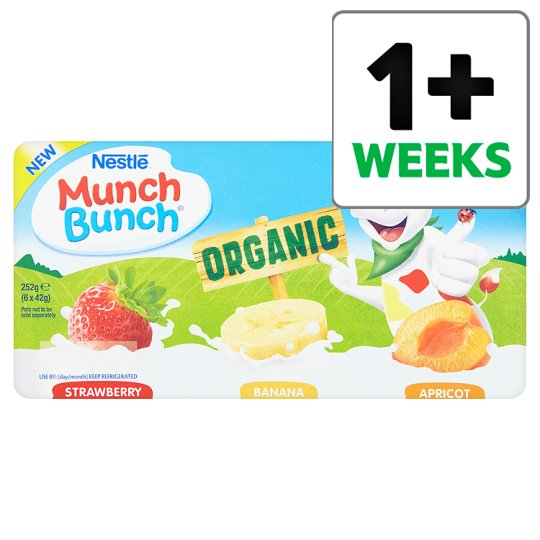 Munch Bunch Organic Strawberry Raspberry Apricot F/Frais6x42g