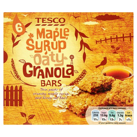 Tesco 6 Maple Syrup Oaty Granola Bars 6 Pack 252G