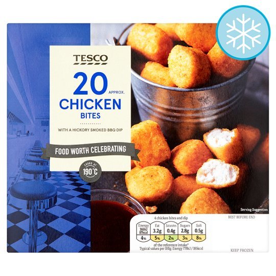 Tesco Frozen Chicken Bites With A Barbecue Dip 280G
