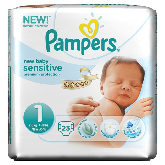 Pampers New Baby Sensitive Size 1 Carry Pack 23 Nappies