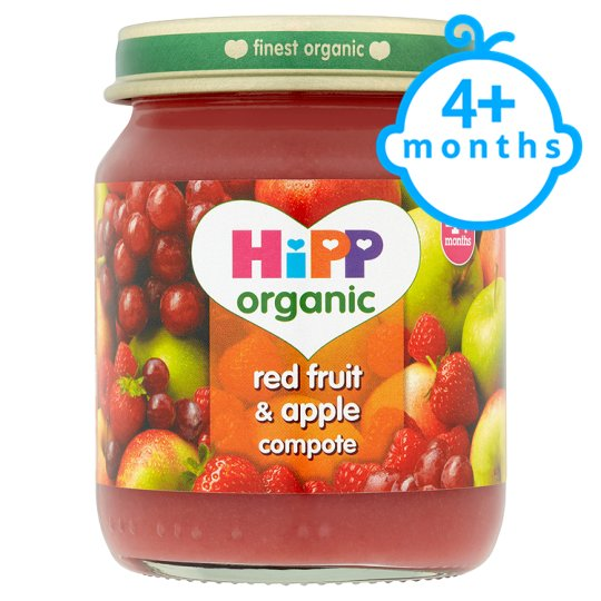 Hipp 4 Month Organic Red Fruit And Apple Compote 125G