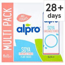 Alpro Soya Unsweetened Longlife Milk Alternative 6 X1 Litre