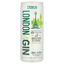 Tesco Gin And Low Calorie Tonic 250Ml
