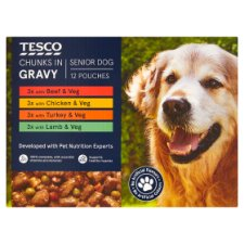 Tesco Chunks In Gravy Senior Dog Pouches 12X100g