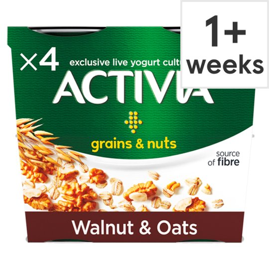 image 1 of Activia Grains And Nuts Walnuts And Oats Yogurt 4X120g