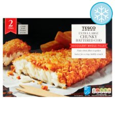 Tesco 2 Extra Large Battered Cod Fillets 400G
