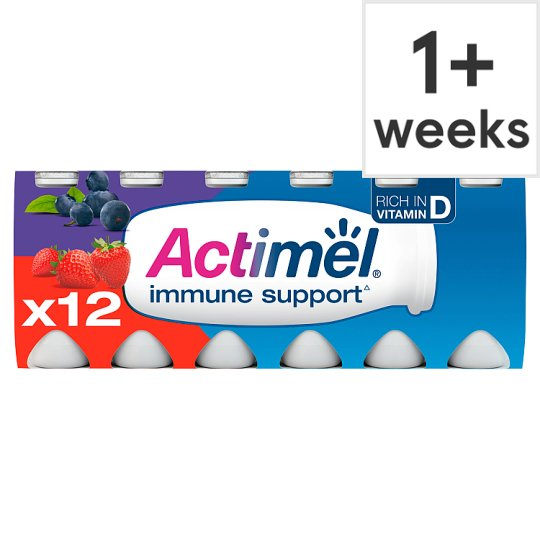 Danone Actimel Strawberry Blueberry Drink 12X100g