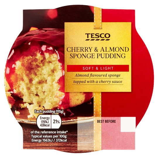 Tesco Cherry And Almond Sponge 115G