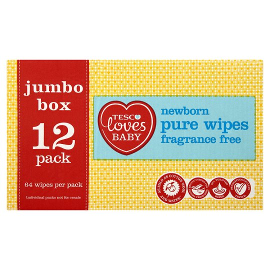 Tesco Loves Baby Pure Fragrance Free Wipes Jumbo Box 12X64