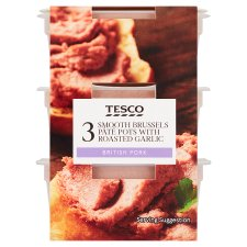 Tesco Smooth Brussels Garlic Pate Trio 180G