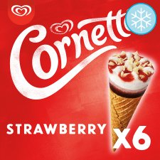 Cornetto Strawberry Ice Cream Cones 6 X 90Ml