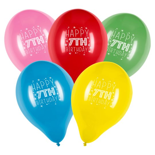 Tesco 10 Pack Happy Birthday Balloons Age 7