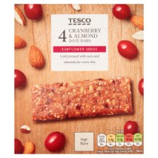 Tesco Cranberry And Almond Date Bars 104G