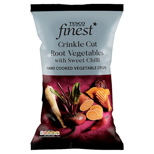 Tesco Finest Root Vegetable Crisps With Sweet Chilli 125G