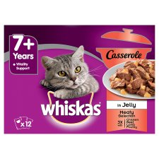 Whiskas Senior Meat Casserole Jelly 7+ Cat Pouches 12 Pack