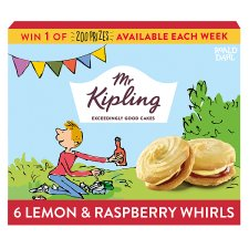 Mr Kipling Lemon And Raspberry Whirls 6 Pack